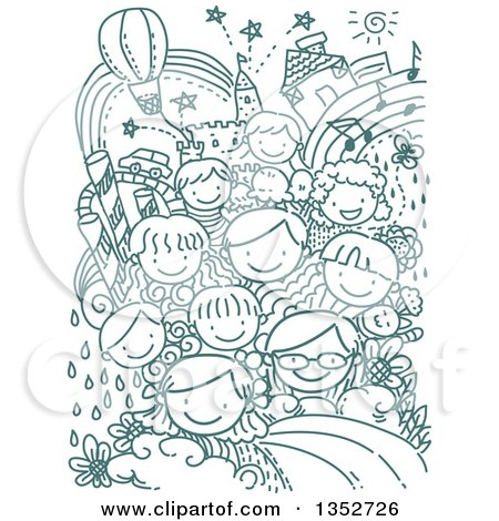 Clipart of a Background of Doodled Kids and Whimsical Items - Royalty Free Vector Illustration by BNP Design Studio