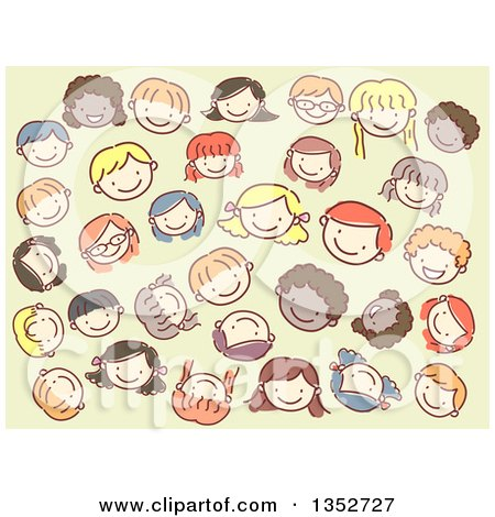 Clipart of Doodled Kid Faces over Green - Royalty Free Vector Illustration by BNP Design Studio