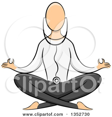 Clipart of a Sketched Yoga Practicioner on the Lotus Pose - Royalty Free Vector Illustration by BNP Design Studio