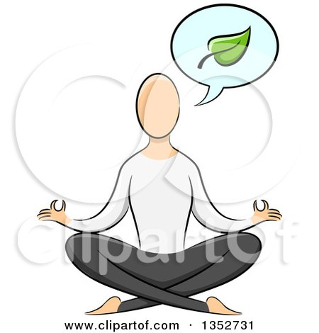 Clipart of a Sketched Yoga Practicioner on the Lotus Pose, Talking About a Leaf - Royalty Free Vector Illustration by BNP Design Studio