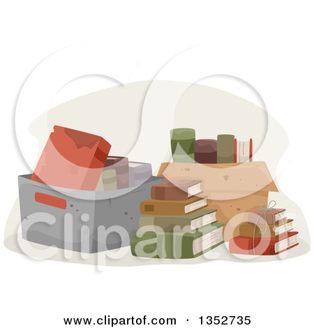 Clipart of Boxes of Old Books - Royalty Free Vector Illustration by BNP Design Studio