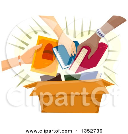 Clipart of Hands Putting Books into a Box - Royalty Free Vector Illustration by BNP Design Studio