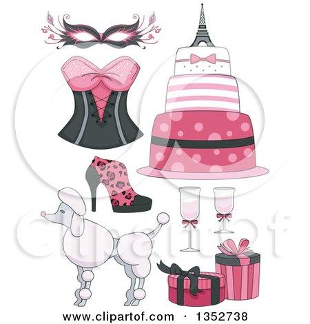 Clipart of Pink Parisian Feminine Items - Royalty Free Vector Illustration by BNP Design Studio
