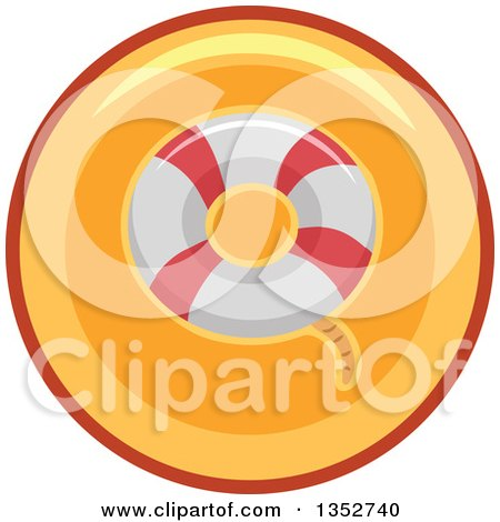 Clipart of a Life Buoy Icon Button - Royalty Free Vector Illustration by BNP Design Studio