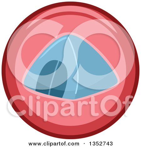 Clipart of a Round Pink and Blue Camping Tent Icon - Royalty Free Vector Illustration by BNP Design Studio