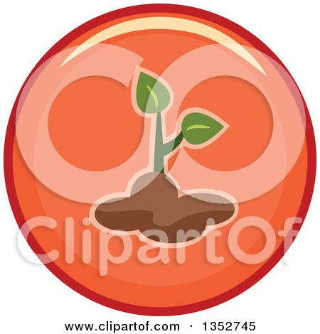 Clipart of a Round Seedling Plant Icon - Royalty Free Vector Illustration by BNP Design Studio
