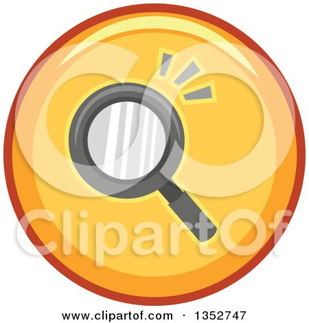 Clipart of a Round Yellow Seach Magnifying Glass Icon - Royalty Free Vector Illustration by BNP Design Studio