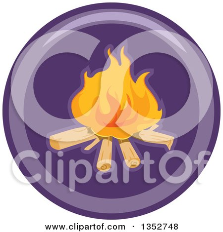 Clipart of a Round Purple Camp Fire Icon - Royalty Free Vector Illustration by BNP Design Studio