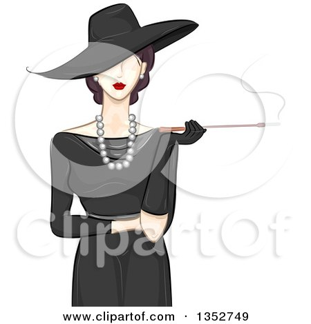Clipart of a Fashionable Woman in a Vintage Style Hat and Dress, Smoking a Cigarette with a Long Filter - Royalty Free Vector Illustration by BNP Design Studio