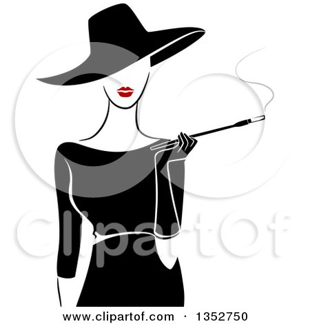 Clipart of a Retro Stylish Lady Wearing a Hat and Black Dress, Smoking a Cigarette with a Long Filter - Royalty Free Vector Illustration by BNP Design Studio
