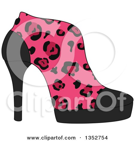 Clipart of a Pink Leopard Print High Heel Shoe - Royalty Free Vector Illustration by BNP Design Studio