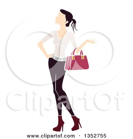 Clipart of a Brunette White Woman Carrying a Handbag - Royalty Free Vector Illustration by BNP Design Studio