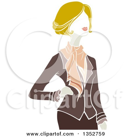 Clipart of a Blond Parisian Business Woman Posing - Royalty Free Vector Illustration by BNP Design Studio