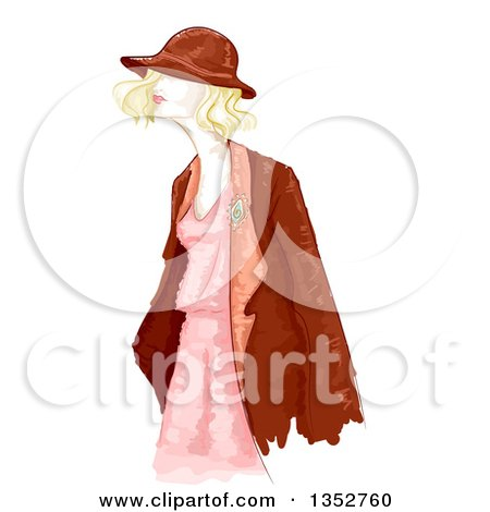 Clipart of a Water Color Styled Blond Woman in Vintage Apparel - Royalty Free Vector Illustration by BNP Design Studio