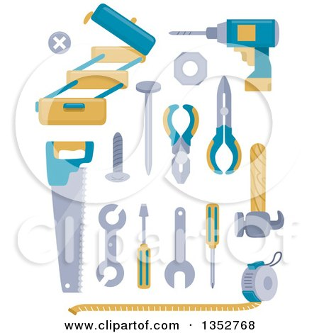 Clipart of Blue and Yellow Tools - Royalty Free Vector Illustration by BNP Design Studio
