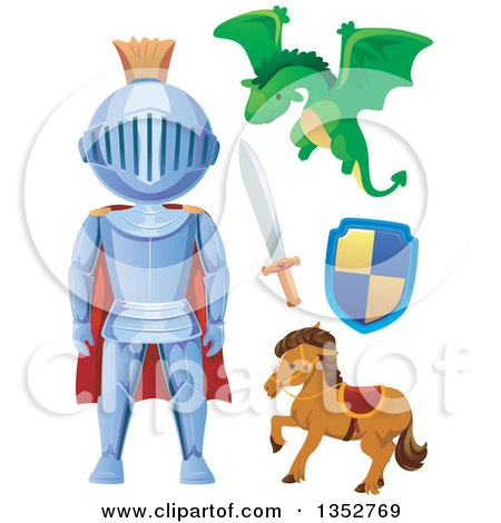 Clipart of a Knight, Dragon, Sword, Horse and Shield - Royalty Free Vector Illustration by BNP Design Studio