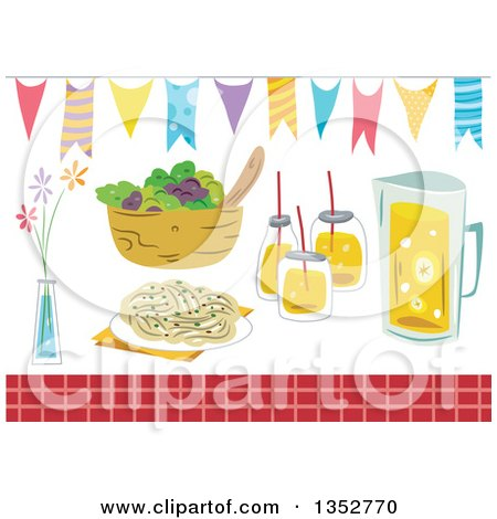 Clipart of Party Foods and Design Elements - Royalty Free Vector Illustration by BNP Design Studio