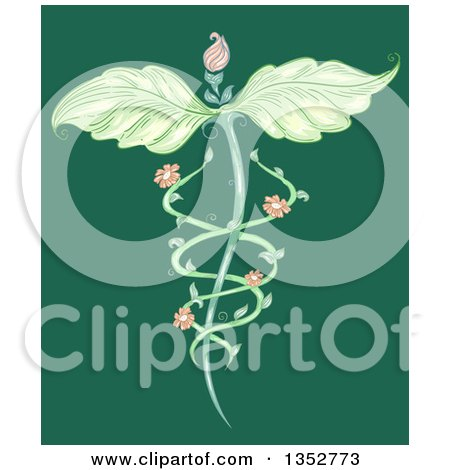Leaf Winged Naturopathic Floral Vine Caduceus on Green Posters, Art Prints