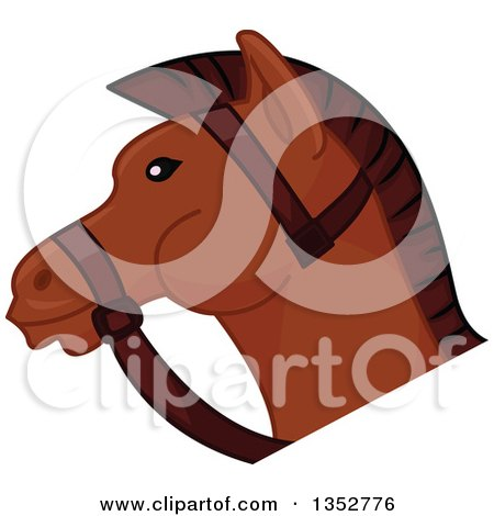 Clipart of a Brown Horse Head - Royalty Free Vector Illustration by BNP Design Studio