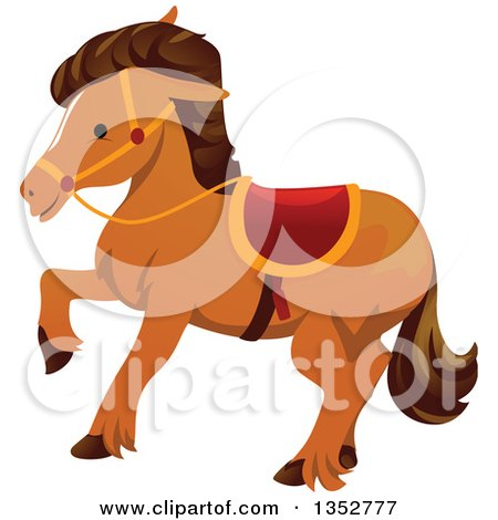 Clipart of a Walking Brown Horse - Royalty Free Vector Illustration by BNP Design Studio