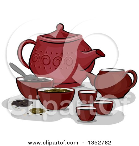 Clipart of a Red Chinese Tea Set - Royalty Free Vector Illustration by BNP Design Studio
