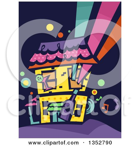 Clipart of a Colorful Party House - Royalty Free Vector Illustration by BNP Design Studio