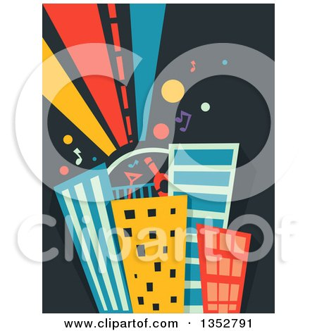 Clipart of a Roof Top Party on Skyscrapers - Royalty Free Vector Illustration by BNP Design Studio