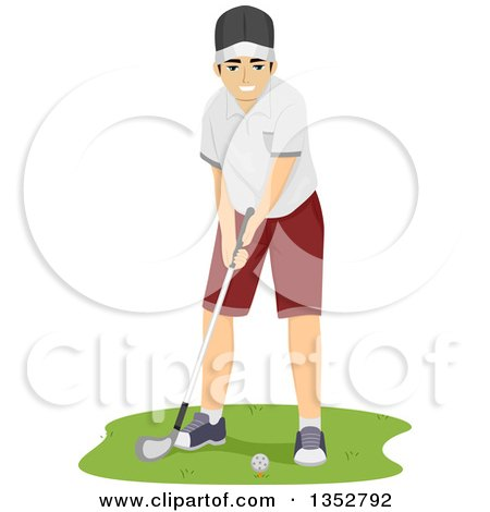 Clipart of a Brunette Caucasian Man Golfing - Royalty Free Vector Illustration by BNP Design Studio