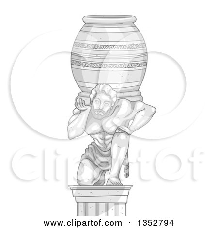 Clipart of a Marble Statue of a Man Carrying a Heavy Jar - Royalty Free Vector Illustration by BNP Design Studio