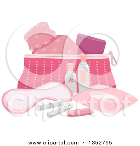 Clipart of a Pink Beauty and Puberty Kit - Royalty Free Vector Illustration by BNP Design Studio