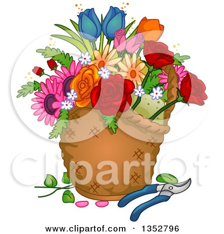 Clipart of a Basket with Flowers and Pruners - Royalty Free Vector Illustration by BNP Design Studio