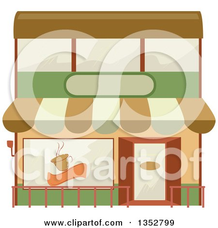 Clipart of a Cafe Building Facade - Royalty Free Vector Illustration by BNP Design Studio