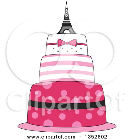 Clipart of a Pink Parisian Cake with an Eiffel Tower Topper - Royalty Free Vector Illustration by BNP Design Studio