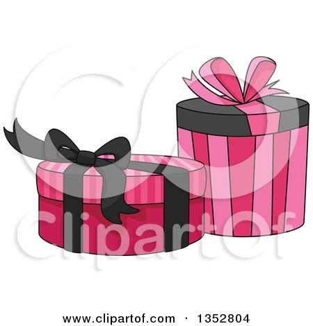 Clipart of Pink and Black Gifts or Boxes - Royalty Free Vector Illustration by BNP Design Studio