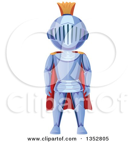 Clipart of a Knight in a Red Cape - Royalty Free Vector Illustration by BNP Design Studio