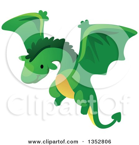 Clipart of a Cute Flying Green Dragon - Royalty Free Vector Illustration by BNP Design Studio