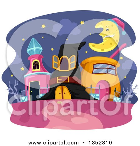 Clipart of Wizard Houses Under a Crescent Moon - Royalty Free Vector Illustration by BNP Design Studio