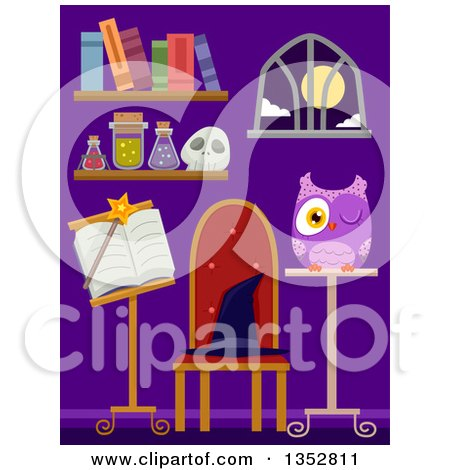 Clipart of a Purple Room with Wizard and Witchcraft Items - Royalty Free Vector Illustration by BNP Design Studio