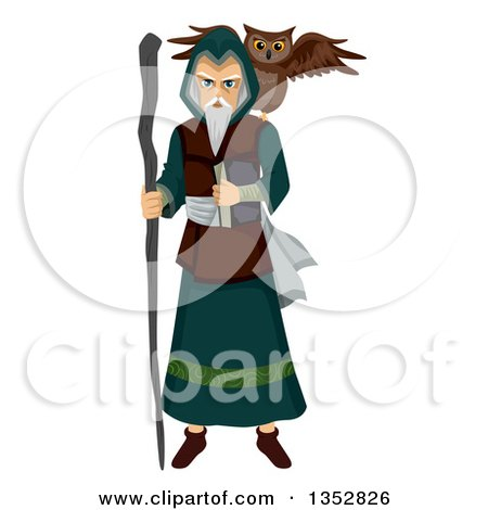 Clipart of a Mage with an Owl Familiar Spirit - Royalty Free Vector Illustration by BNP Design Studio