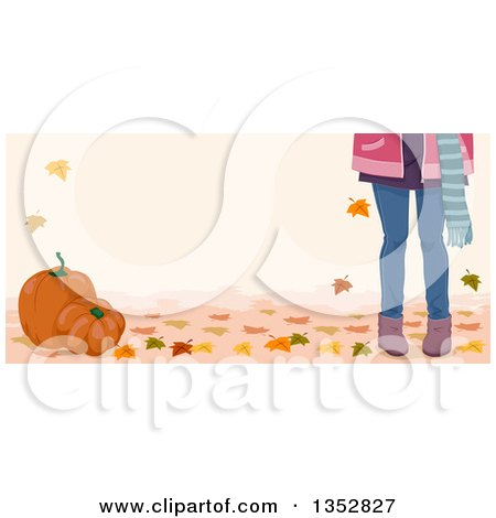 Clipart of Legs of a Girl with Autumn Leaves and Pumpkins - Royalty Free Vector Illustration by BNP Design Studio