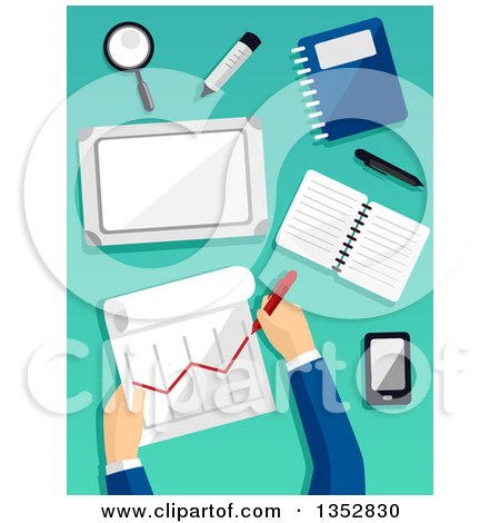 Clipart of Hands of a Business Man Preparing a Financial Report - Royalty Free Vector Illustration by BNP Design Studio