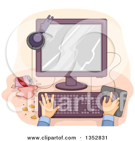 Clipart of Hands Working at a Messy Desktop Computer - Royalty Free Vector Illustration by BNP Design Studio