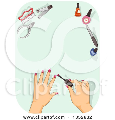 Clipart of Female Hands Applying Police over Green, with Tools - Royalty Free Vector Illustration by BNP Design Studio