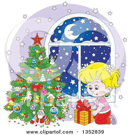 Clipart of a Cartoon Blond White Girl Putting a Christmas Gift Under a Tree by a Window with Snow Outside - Royalty Free Vector Illustration by Alex Bannykh