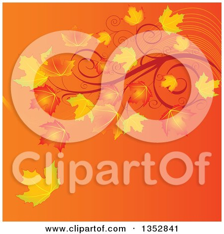 Clipart of a Gradient Orange Autumn Background with Fall Maple Leaves and Swirl Branches - Royalty Free Vector Illustration by Pushkin