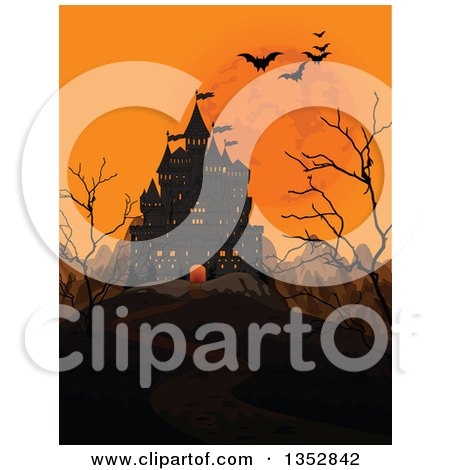 Clipart of a Creepy Haunted Halloween Castle with an Orange Sky, Full Moon, Mountains, Bare Trees and Flying Bats - Royalty Free Vector Illustration by Pushkin