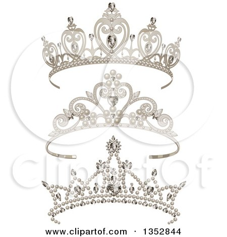 Clipart of a Princess Tiaras with Pearls, Hearts and Diamonds ...