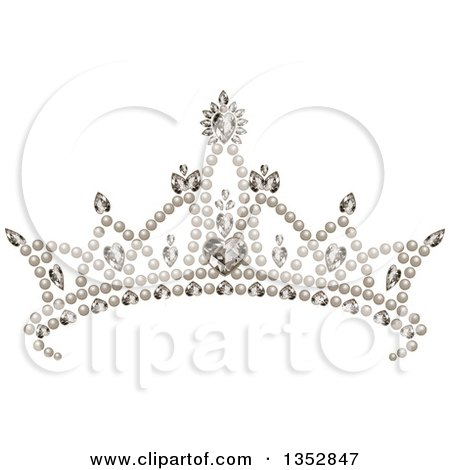 Clipart of a Princess Tiara With Pearls Hearts and Diamonds - Royalty Free Vector Illustration by Pushkin