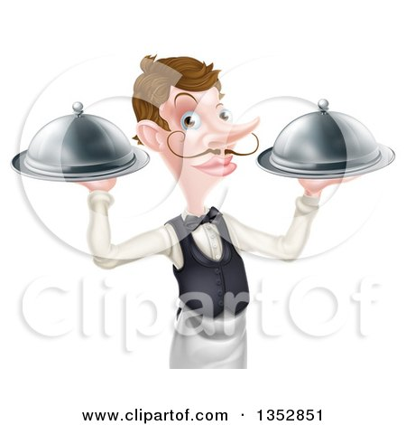 Clipart of a Cartoon Caucasian Male Waiter with a Curling Mustache, Holding Two Cloche Platters - Royalty Free Vector Illustration by AtStockIllustration