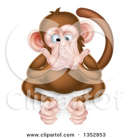 Clipart of a Cartoon Speak No Evil Wise Monkey Covering His Mouth - Royalty Free Vector Illustration by AtStockIllustration